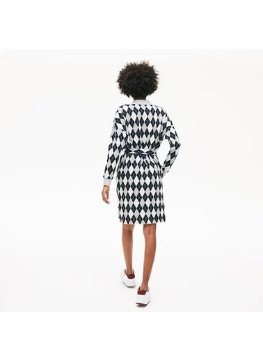 Lacoste Kadın Baklava Desenli Elbise EF9642.44Q Gri